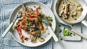 Garlic mushrooms and cured ham on toasted brioche