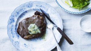 Rib-eye steak with Stilton butter
