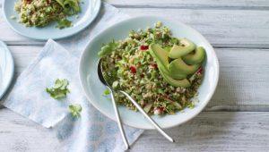 Rice bowl with ginger, radish and avocado