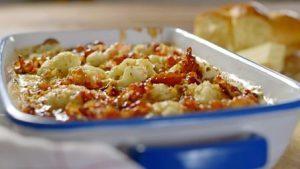 Cauliflower cheese with maple syrup pancetta