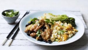 Chicken and black bean sauce with bok choy