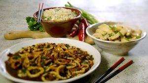 Lemon chicken and blackbean squid with stir-fried rice
