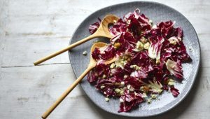 Radicchio, chestnut and blue cheese salad with a citrus, mustard and honey dressing