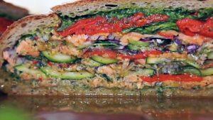 Salmon and watercress pan bagnat