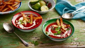 Tortilla soup with chipotle chilli
