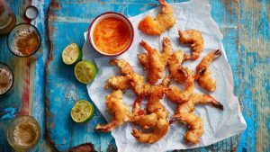 Deep-fried coconut prawns