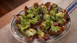 Crispy potato skins filled with pancetta and roquefort