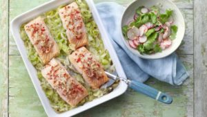 Salmon with buttered leeks and yuzu dressing