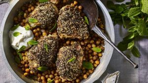 Za'atar chicken with chickpeas and garlic yoghurt