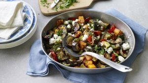 Roasted vegetables with herbs and feta
