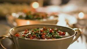 Gorgonzola and Cannellini dip with a Tricolore flourish