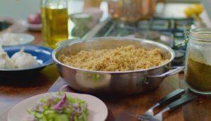 Jollof quorn pilau with salted cucumber