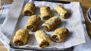 Pork, lentil and veg sausage rolls