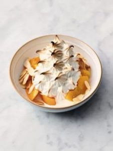 Peach & almond Alaska