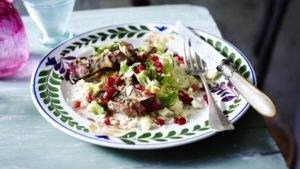 Maple and balsamic glazed lamb chops with couscous