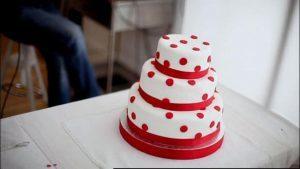 Three-tier red velvet cake