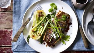 Honey and soy glazed trout