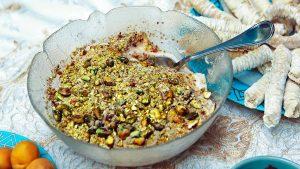 Muhallabi (almond milk pudding)