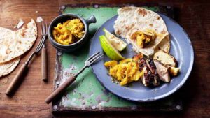 Grilled chicken shatkora with pickle and chapatis