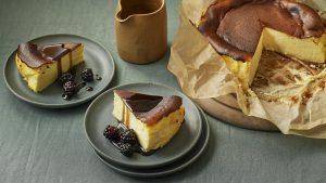 Basque burnt cheesecake with liquorice sauce