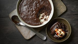 Chocolate tahini pudding with tahini cream and date molasses