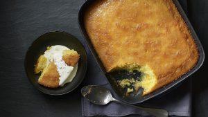 Lemon and elderflower drizzle pudding