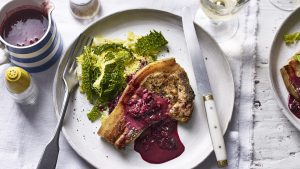 Pork chops with sloe sauce and Savoy cabbage