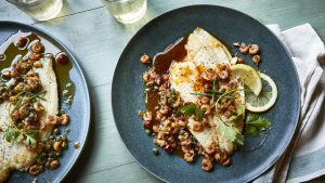 Lemon sole with spiced brown butter shrimps