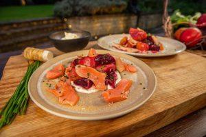 Heritage Beetroot Salad, Horseradish Creme Fraiche & Salmon