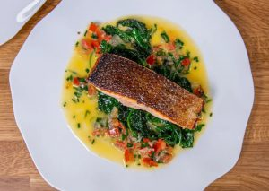 Pan Fried Salmon, with Spinach & Chive Butter Sauce